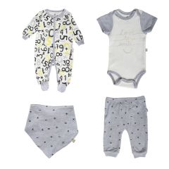 Snugabye Numbers 4 Piece Set Grey