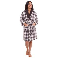 Women's Plush Plaid Robe With Sherpa Collar Black