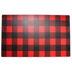 Black & Red Plaid Door Mat 17 x 28in