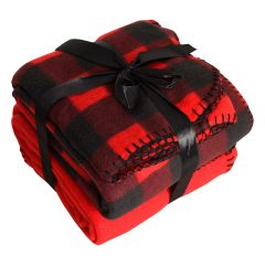 Fleece Throw Black and Red Plaid 2 Pack