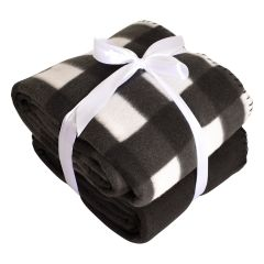Colour Your Home Plaid Throw Black 2Pk