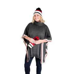 Knit Cowl Neck Poncho With Fringe Charcoal One Size