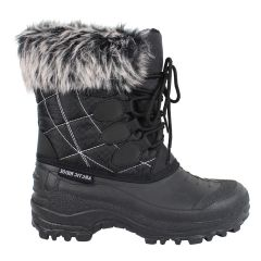 Arctic Ridge Lace Up Faux Fur Lined Winter Boots Black
