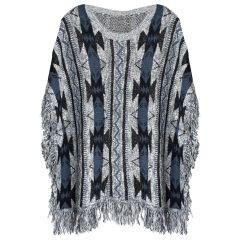 Womens Plus Size Cape Fringe Poncho