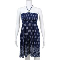 Bandeau Dress with Halter Neck Tie Blue Extra Large