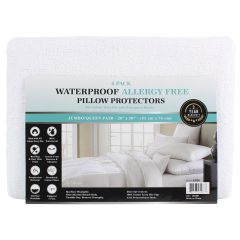 Lily Collection Waterproof Allergy Free Pillow Protector Queen 4Pk