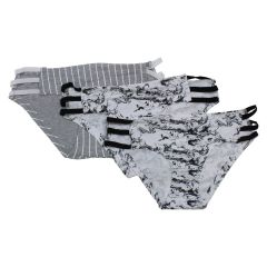 Cheekini Panty With Strappy Side 3 Pack Black And White