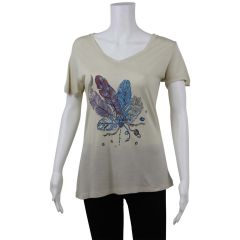 British Invasion Feather Print T-Shirt Beige Small