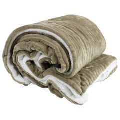 Ribbed Sherpa Lined Throw 50 x 60in