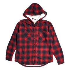 Boston Traders Women's Sherpa Lined Plaid Hooded Shirt
