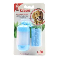 Dog It Waste Bag Dispenser with 2 x 20 Bag Rolls