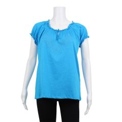 2 Dye 4 Embroidered Peasant Top Blue XL