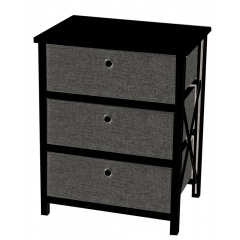 Casadécor 3 Drawer Storage Cabinet Black