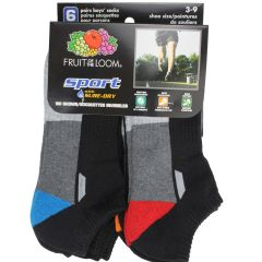 Fruit Of The Loom No Show Ankle Sock 6Pk Size 3-9