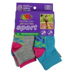 Fruit of the Loom Girls 6 Pack Ankle Sport 11- 4