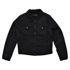 GG Jeans Sherpa Lined Denim Jacket Black