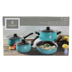 Gibson Home Chef Du Jour Non Stick Steel Cookware 7 Piece Set