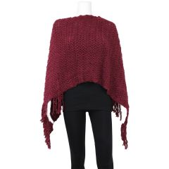 Guilty Knit Wear Knit Fringe Poncho Wine One Size