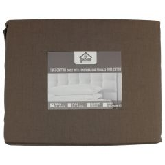 Home Essentials 100% Cotton Sheet Sets Twin Brown