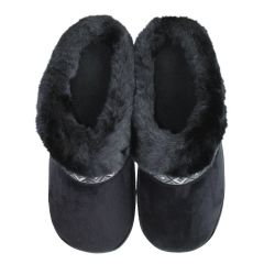 Isotoner High Back Slippers Black Fur-Lined And Tan Sherpa-Lined