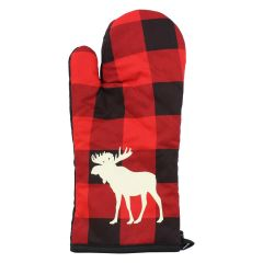 Plaid Check Oven Mitts Red and Black