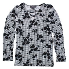 Margie Girls Cross Lace Neck Long Sleeve Floral Top Size 7 - 14