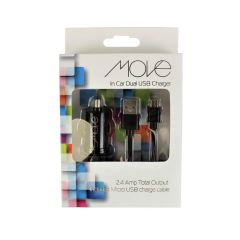 Move In Car Dual USB Charger Black