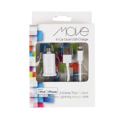 Move Car Dual USB Charger White
