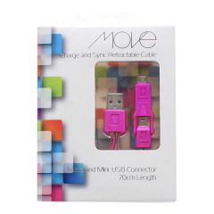Move Charge And Sync Cable Micro & Mini USB Connector 70cm Pink