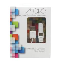Move Charge And Sync Cable Micro & Mini USB Connector 70cm White