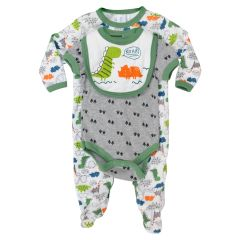 Baby Mode Bib, Onesie & Sleeper 3 Piece Set