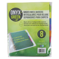 Onyx + Green Binder Index Dividers 8Pk