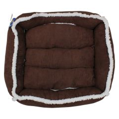 Suede Sherpa Lined Pet Bed Brown Small
