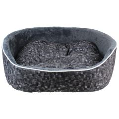 Fleece Lined Plush Pet Bed Charcoal XL