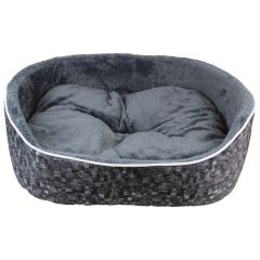 Fleece Lined Plush Pet Bed Charcoal Medium
