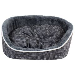 Fleece Lined Plush Pet Bed Charcoal XS