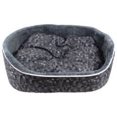 Fleece Lined Plush Pet Bed Charcoal Large
