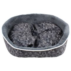 Fleece Lined Plush Pet Bed Charcoal Small