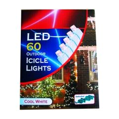 Icicle Christmas Lights 60 LED Cool White