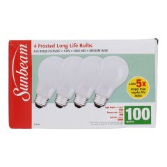 Sunbeam Frosted Long Life Light Bulbs 100W 4Pk