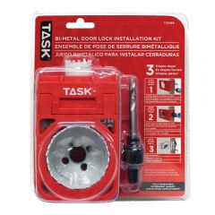 Task Tools 4 Piece Deep Cut Bi-Metal Door Lock Installation Kit with Plastic Template Guide