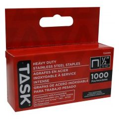 "Task Tools 1/2"" (12mm) Heavy Duty Stainless Steel Staples - 1000/pack"