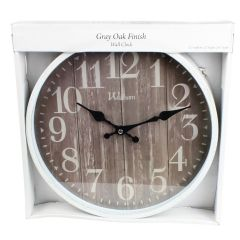 MZ Berger Waltham Oak Finish Wall Clock Grey 12in