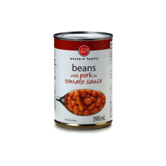 Western Family Baked Beans With Pork In Tomato Sauce 398mL